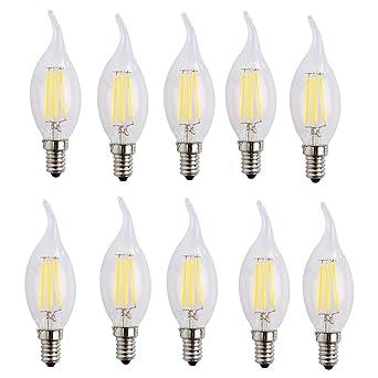 Forme Froid X 10 AmpouleBlanc 6500k Ampoule À Incandescente Filament 400lmÉquivaut E14 4w AmpoulesEdison 40w Led Lampe Bougie j3A4L5R