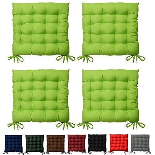 4er Set Sitzkissen Lea - Bequemes Kissen für hervorragenden Sitzkomfort in Wohnung & Garten - 40x40x5 cm - Apfelgrün