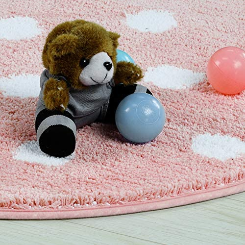 LIVEBOX Polka Dots Round Area Rugs, 4ft Diameter Kids Play Mat Soft Plush Baby Crawling Mat Non-Slip Throw Carpet for Teen Girl Living Room Bedroom Playroom Nursery Decor 2020 Best Shower Gift Pink