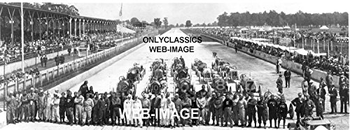 (OnlyClassics 1912 INDY 500 Speedway Lineup Drivers with Cars AUTO Racing Panoramic Race Photo)