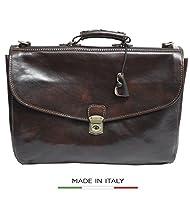 Luggage Depot USA, LLC Alberto Bellucci Italian Leather Triple Compartment Messenger Briefcase, D. Brn Briefcase, Dark Brown by Luggage Depot USA, LLC