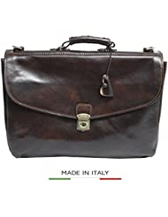 Luggage Depot USA, LLC Alberto Bellucci Italian Leather Triple Compartment Messenger Briefcase, D. Brn Briefcase...