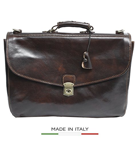 Luggage Depot USA, LLC Alberto Bellucci Italian Leather Triple Compartment Messenger Briefcase, D. Brn Briefcase, Dark Brown by Luggage Depot USA, LLC