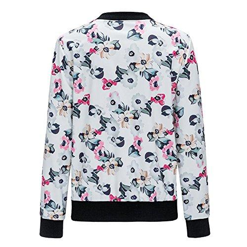 Blouson Sexy Blousons Mince Mode Zipper Femme Sexy Jacket Impression Femme Souple Fleur pour Veste Automne Manteau Casual Bomber Moto La Courte Cabina FtgwvI