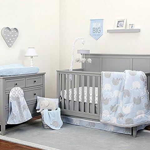 NoJo The Dreamer Collection Elephant Blue and Grey 9 Piece Crib Bedding Set - Blue Plush Mattress Set