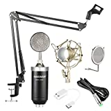 Neewer NW-1500 Professional Studio Condenser Microphone Kit with USB Sound Card, Shock Mount, Mic Suspension Scissor Arm Stand, Pop Filter for Computer Recording Broadcast YouTube(Black and Silver)