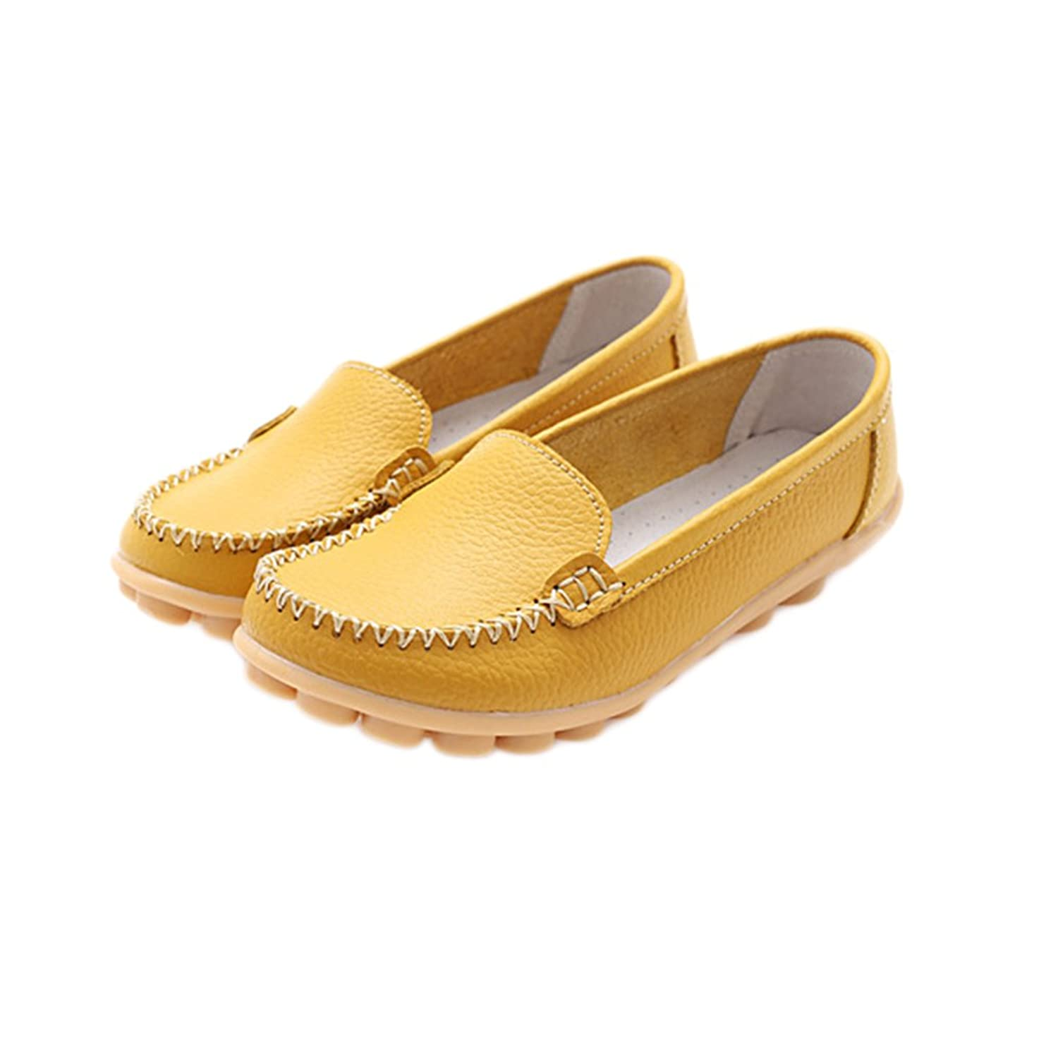 Womens Leather Cowhide Casual Flat Driving Loafers Slip On Boat Shoes