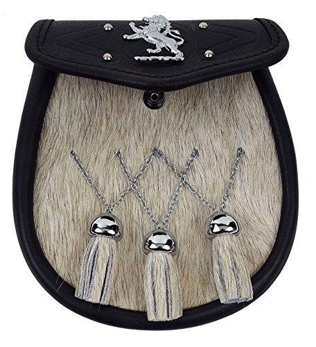 Rampant Lion Bovine Fur Premium Sporran-Made in Scotland (Celtic Embossed Sporran Suspender) by The Celtic Croft (Image #2)