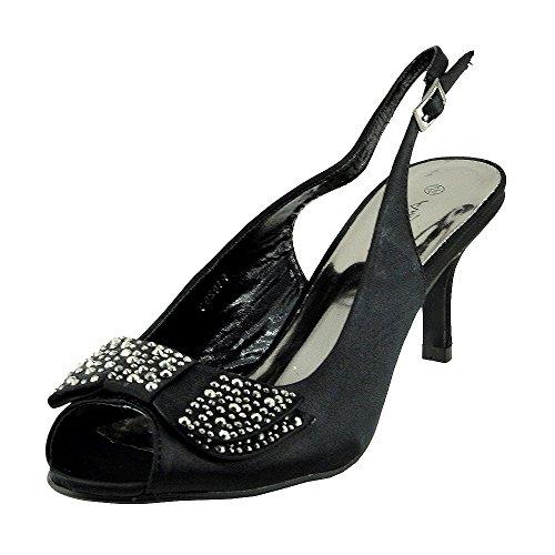 Womens Ladies low satin kitten heel shoes Black