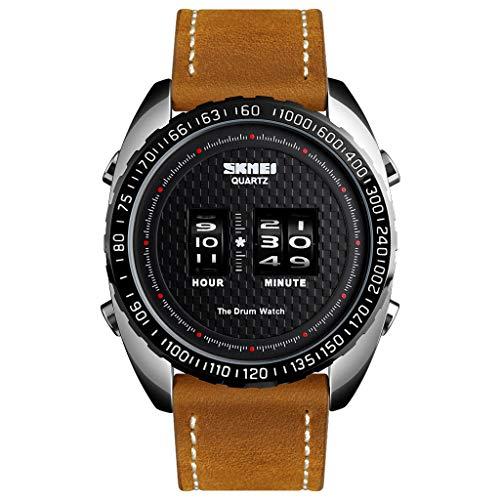 - LUCAMORE Mens Fashion Watch 30M Waterproof Watch Roller Movement Wheel Digital Dial Leather Band Dress Luxury Wristwatch
