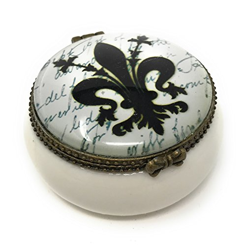 Value Arts Fleur de Lis Trinket Box, 2 Inch Diameter