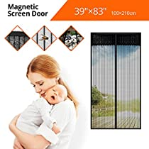 Tker Magnetic Screen Door Instant Hands Free Magic Mesh Anti Fly Mosquito Bug Door Curtain Screen Net Fits Doors up to39x83-Black