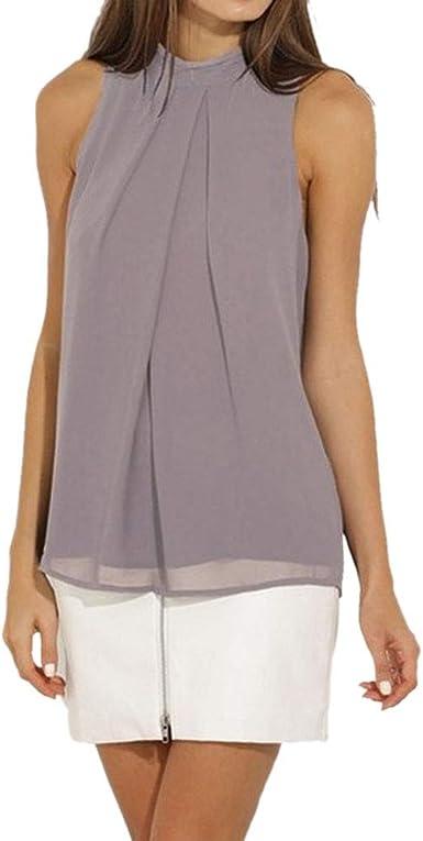 QIYUN.Z Camisa sin Mangas sin Mangas de Color sólido Blusa Suelta Tank Tops Camisa (Gris Claro M): Amazon.es: Ropa y accesorios