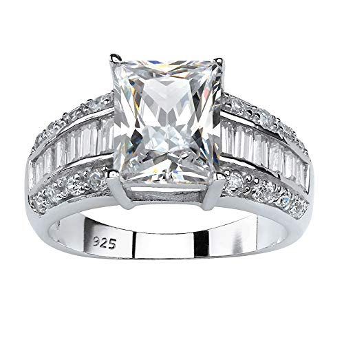 (Emerald-Cut White Cubic Zirconia Platinum over .925 Sterling Silver Engagement Ring)