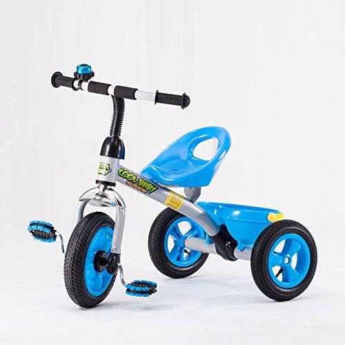 Tricycle pour enfants, poussette de bébé 3-6 ans, voiture de jouet, vélo, vélo enfant gonflable ( Couleur : Bleu )
