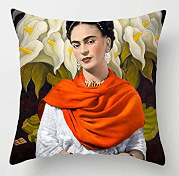 Cushion Cover Fabric Frida Kahlo Colorful Flowers Pillowcase 43x43cm/17x17 Woven Pillow Covers Polyester&Linen Home Decor Cushion Cover for Sofa ...