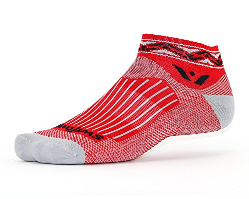 Swiftwick- VISION ONE APEX   Socks Built for Running and Cycling   Creative Designs, Cushioned Ankle Socks   Black, Large
