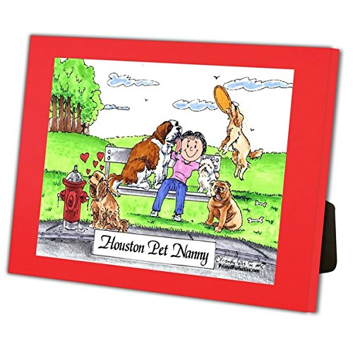 Personalized Friendly Folks Cartoon Caricature in a Color Block Frame Gift: Dog Lover - Female Great for animal rescue, pet sitter, dog walker by Printed Perfection (Image #1)