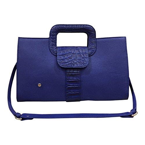 Gaspy Elena Women's Formal Evening Handbag, 100 Percent Colombian Leather (Royal Blue, Granular and Gavial Crocodile Patterns) by Gaspy