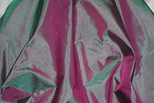 Blue & Fuchsia Tissue Taffeta Silk, 100% Silk Fabric, By The Yard, 44