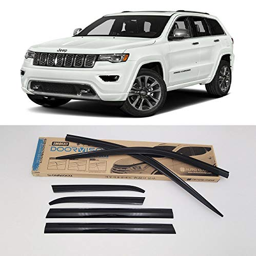 Guards 2015 Jeep - AUTOCLOVER Dark Smoke Side Window Vent Visor 6 Piece Set for Jeep Grand Cherokee 2015 2016 2017 2018 2019 / Safe RAIN Out-Channel Guard Deflector