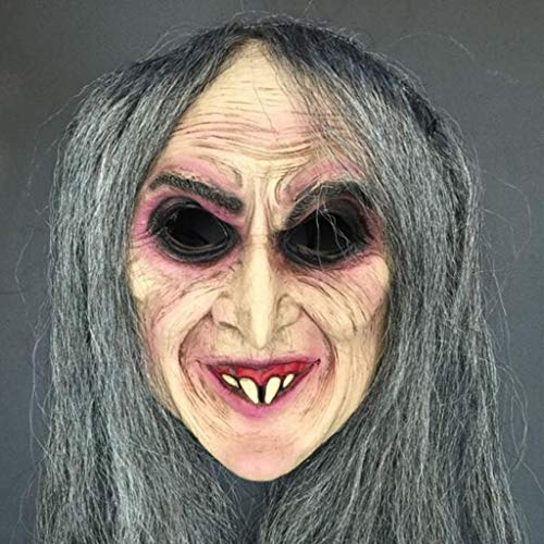 SKSNBMJ Halloween Mask Horror Witch Mask Long Hair Witch Horror Party Holiday Props C9]()
