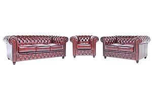 The Chesterfield Brand -Conjunto Sofás Chester Rojo Gastado - 1 / 2 / 3 plazas - Hecho artesanal en cuero natural