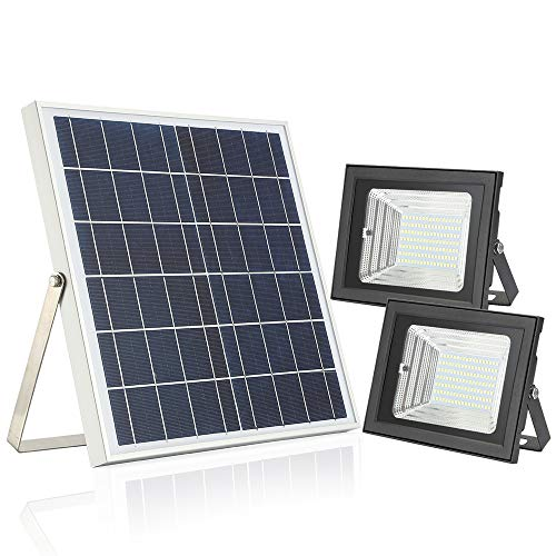 126 Lamp - Solar Flood Light with Remote Control,Moresun 18W Dual 126 LEDs Lamp Solar Powered Flood Lights for Flag Pole Garden Lawn Patio Sign Driveway,Auto ON/Off