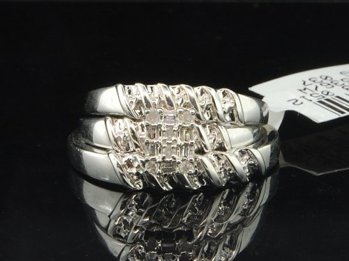 10K White Gold 0.10 Ct Round & Baguette Diamond Bridal Engagement Wedding Trio Set