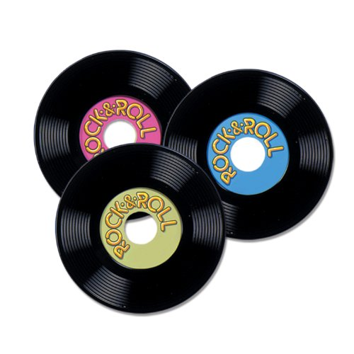 Personalize Plastic Records Party Accessory (1 count) (3/Pkg)