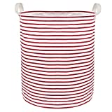 Outdoorfly Canvas Laundry Basket with Handles Resistance Soiling Waterproof Collapsible Laundry Hampers Toy Storage Bins Without Lid for Women Girls 15.7'x 19.7'(White Red Stripes)