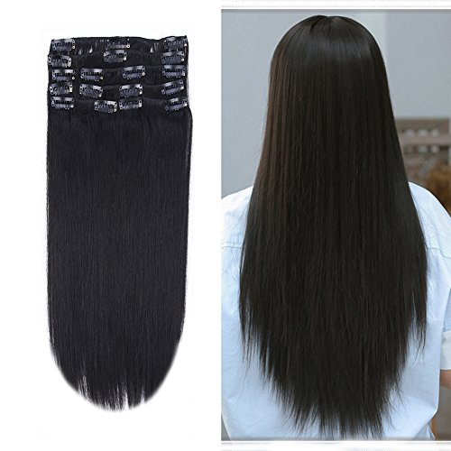 12-22inch Clip in Remy Human Hair Extensions Grade 7A Thick to End Full Head Natural Hair Long Straight 8 Pieces 18clips 80g 14