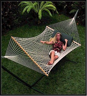 Palmetto-Sunny Daze Cotton Rope Hammock-Single Large