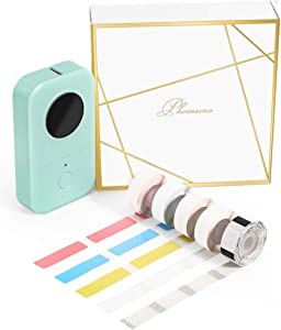 Phomemo D30 Bluetooth Label Maker-with 5 Roll Adhesive Label Thermal Paper Thermal Label Printer Paper Mini Thermal Bluetooth Label Maker Easy to Use for Home Office Organization (USB Rechargeable)