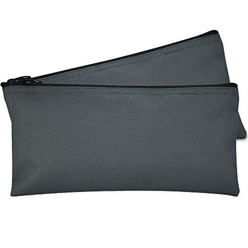 DALIX Bank Bags Money Pouch Securi Deposit Utility Zipper Coin Bag Gray 2 Pack