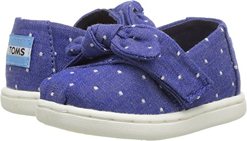 TOMS Kids Baby Girl's Alpargata (Infant/Toddler/Little Kid) Imperial Blue Dot Chambray/Bow 4 M US Toddler