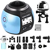 OVTECH Wireless 360 Degree Panoramic Camera 3D VR Action Sports Camera Wifi 16MP 4K HD 30fps Waterproof 230° Lens Mini DV Player Blue