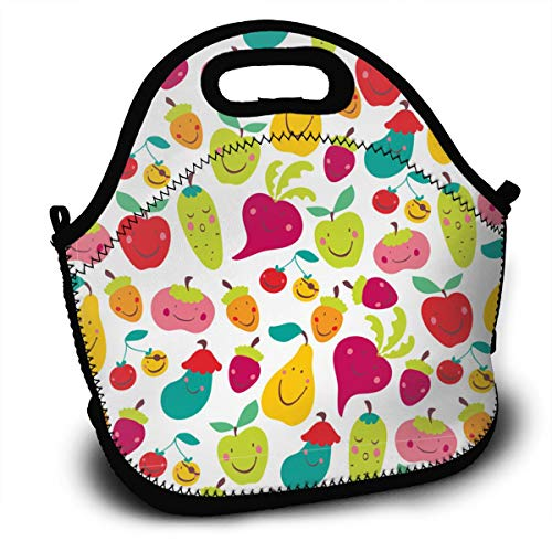 FWSXIVN Children Vegetables and Fruit Waterproof Lunch Bag Handbag Lunchbox Food Container Gourmet Tote Cooler Warm Pouch for School Work Office Outdoor Travel Picnic