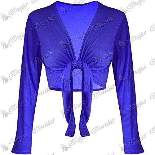 Be Jealous - Boléro court jersey pour femmes à nouer - XXL - 46, Bleu roi