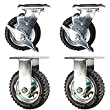 Service Caster - 6'' Black Pneumatic Rubber Wheel – 2 Rigid and 2 Swivel Casters w/Brakes - Set of 4