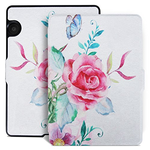Aimerday Original Painting Smartshell Folio Kindle Voyage Case - The Thinnest and Lightest Protective PU Leather Cover for Amazon Kindle Voyage with Auto Sleep/Wake Rose