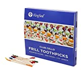 KingSeal Club Frill Sandwich Toothpicks, Assorted Colors - 5 Pack/1000 per Pack, 3.75'' length, Natural Birch Wood