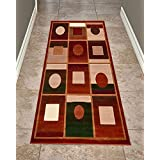 Cosy House Contemporary Runner Rugs for Indoors & Out | Plush High Pile Olefin Polypropylene | Resists Stains, Soil & Fading | Power Loomed in Turkey, 2' X 7', Extacy Rust