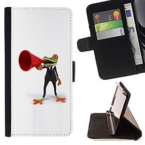 For Sony Xperia Z5 Compact Z5 Mini (Not for Normal Z5) Case , Rana orador negro minimalista- la tarjeta de Crédito Slots PU Funda de cuero Monedero caso cubierta de piel
