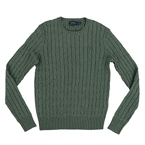 Polo Ralph Lauren Womens Cable Knit Crew Neck Sweater (Large, Forest Green)