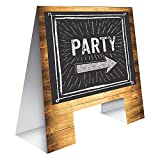 Club Pack of 6 Brown and Black''Party'' Direction Arrow Printed Easel Display 19.5""
