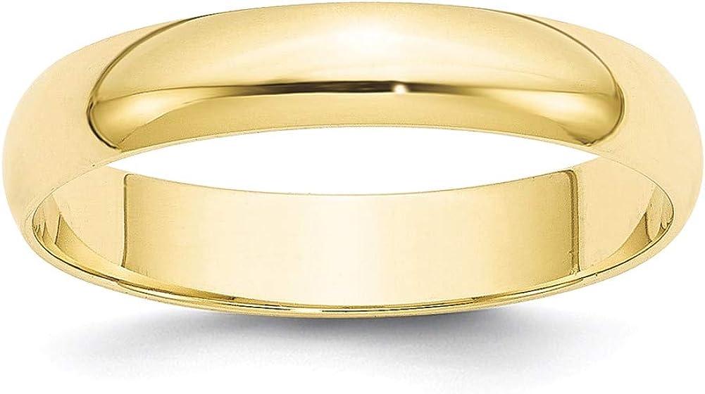 Lex /& Lu 10k Yellow Gold 4mm LTW Half Round Band Ring