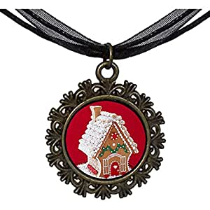 Chicforest Bronze Retro Style Christmas House Round With Flower Lace Pendant
