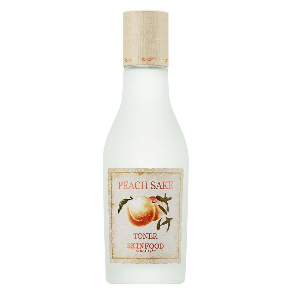 SKIN FOOD Peach Sake Toner 135ml (4.56 fl.oz.) - Tighten Pores and Sebum Control Skin Smoothing Facial Toner for Oily Skin, Rich in Vitamin C and A