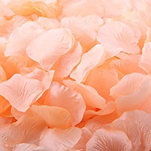 Skydume 2000pcs Peach Color Silk Rose Flower Petals for Wedding Table Confetti Bridal Party Flower Girl Decoration 46